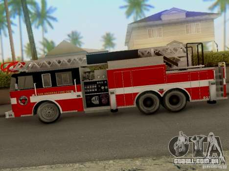 Pierce Firetruck Ladder SA Fire Department para GTA San Andreas traseira esquerda vista