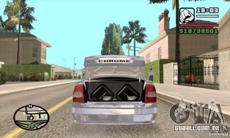 LADA 2170 Chrome para GTA San Andreas traseira esquerda vista