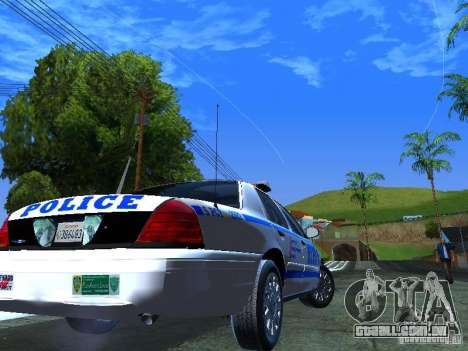 Ford Crown Victoria 2009 New York Police para GTA San Andreas traseira esquerda vista