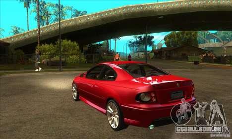 Holden Monaro CV8-R para GTA San Andreas traseira esquerda vista