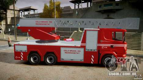 Scania Fire Ladder v1.1 Emerglights blue [ELS] para GTA 4 vista de volta