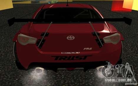Scion FR-S para GTA San Andreas traseira esquerda vista