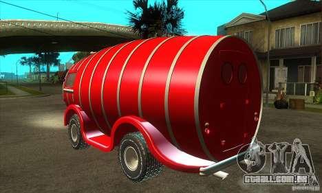 Beer Barrel Truck para GTA San Andreas traseira esquerda vista