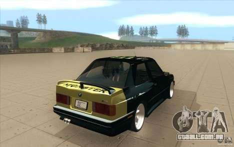 BMW E30 323i para GTA San Andreas traseira esquerda vista