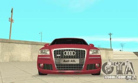 Audi A8L 4.2 FSI para GTA San Andreas vista inferior