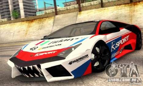 Lamborghini Reventon para GTA San Andreas vista traseira