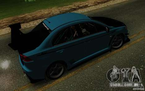 Mitsubishi Lancer Evolution X Tunable para GTA San Andreas vista superior