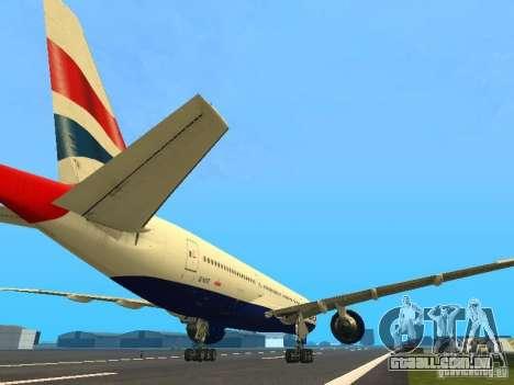 Boeing 777-200 British Airways para GTA San Andreas vista direita