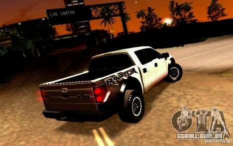 Ford Raptor Crewcab 2012 para GTA San Andreas traseira esquerda vista