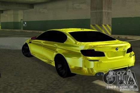 BMW M5 F10 Gold para GTA San Andreas traseira esquerda vista