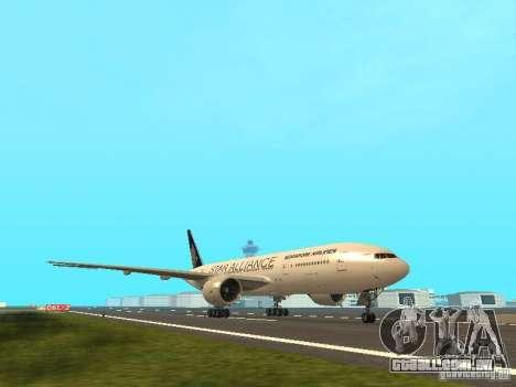 Boeing 777-200 Singapore Airlines para GTA San Andreas esquerda vista