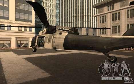 Black Hawk from BO2 para GTA San Andreas traseira esquerda vista