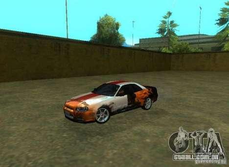 Nissan Skyline GTR-34 para o motor de GTA San Andreas