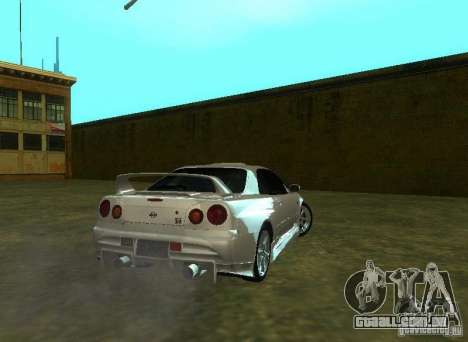 Nissan Skyline GTR-34 para GTA San Andreas vista interior