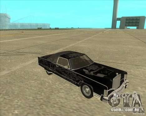 Lincoln Continental Town Coupe 1979 para GTA San Andreas vista traseira