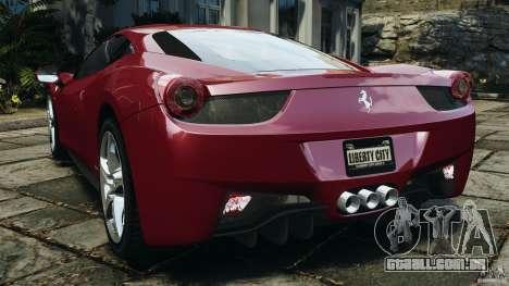 Ferrari 458 Italia 2010 v2.0 para GTA 4 traseira esquerda vista