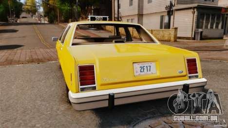 Ford LTD Crown Victoria 1987 L.C.C. Taxi para GTA 4 traseira esquerda vista