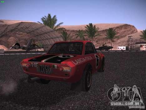 Lancia Fulvia Rally para GTA San Andreas traseira esquerda vista