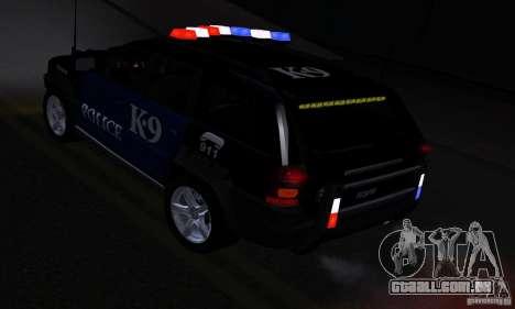 NFS Undercover Police SUV para GTA San Andreas vista interior