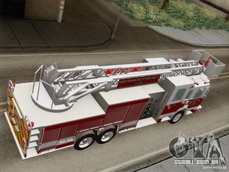 Pierce Aerials Platform. SFFD Ladder 15 para GTA San Andreas vista traseira