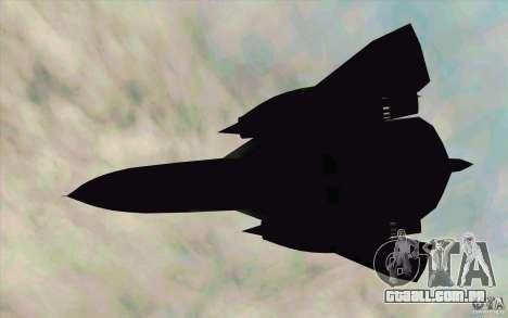 SR-71A BLACKBIRD BETA para GTA San Andreas traseira esquerda vista