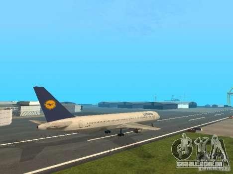 Boeing 767-300 Lufthansa para GTA San Andreas traseira esquerda vista
