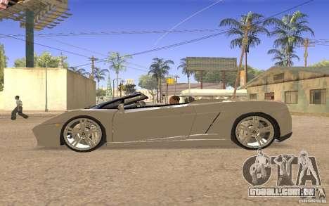 Lamborghini Galardo Spider para GTA San Andreas vista traseira