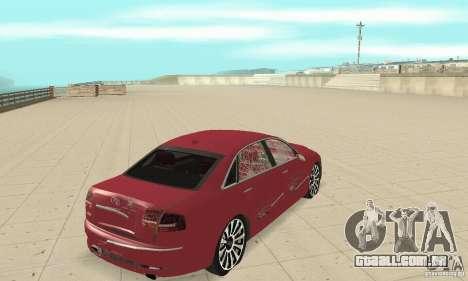Audi A8L 4.2 FSI para GTA San Andreas vista superior