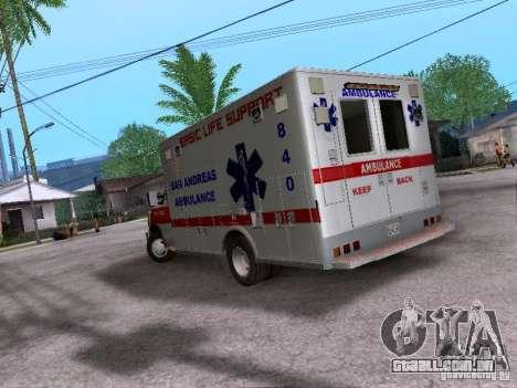 Ford E-350 Ambulance v2.0 para GTA San Andreas traseira esquerda vista