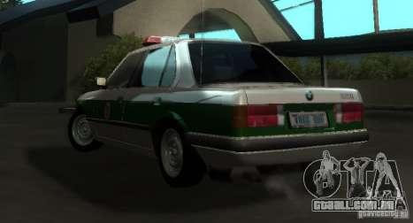 BMW E30 Sedan Police para GTA San Andreas traseira esquerda vista