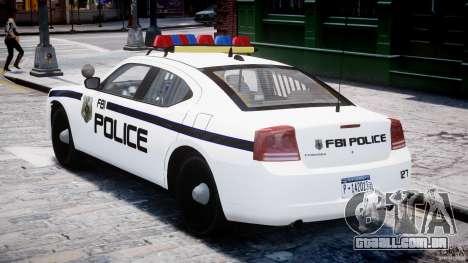 Dodge Charger FBI Police para GTA 4 vista direita