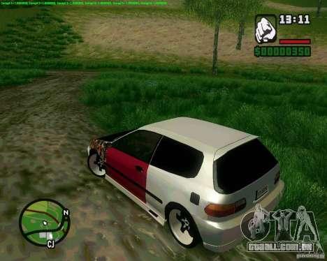 Honda Civic Hellaflush para GTA San Andreas traseira esquerda vista
