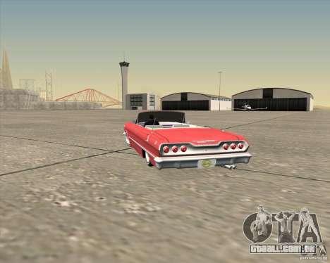 Chevrolet Impala 1963 lowrider para GTA San Andreas vista inferior