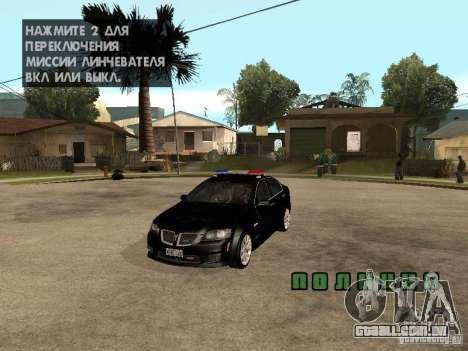 Pontiac G8 GXP Police v2 para GTA San Andreas