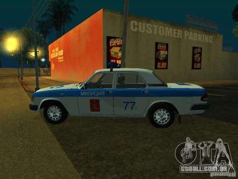 GAZ 3110 polícia para GTA San Andreas traseira esquerda vista