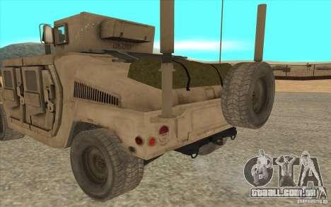 Hummer H1 Military HumVee para GTA San Andreas traseira esquerda vista