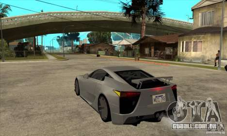 Lexus LFA 2010 para GTA San Andreas traseira esquerda vista