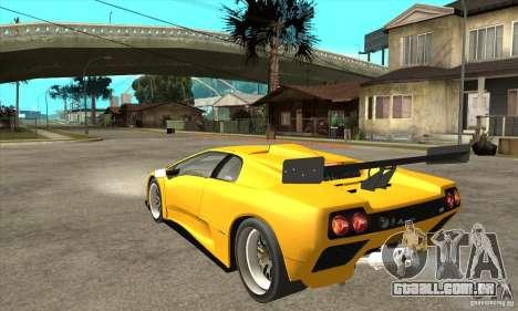 Lamborghini Diablo GT-R 1999 para GTA San Andreas traseira esquerda vista