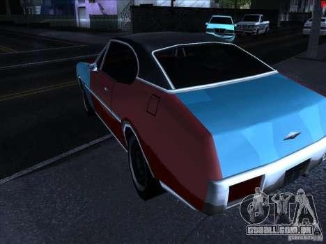Cores mais brilhantes para carros para GTA San Andreas por diante tela