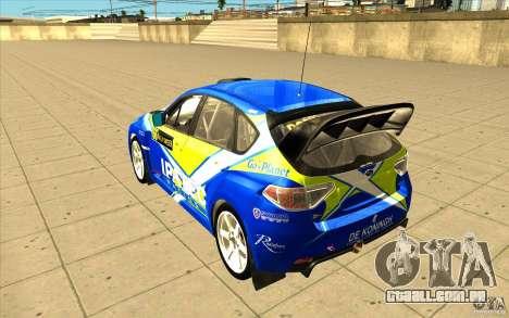 Subaru Impreza WRX STi com novo vinil original para GTA San Andreas vista inferior