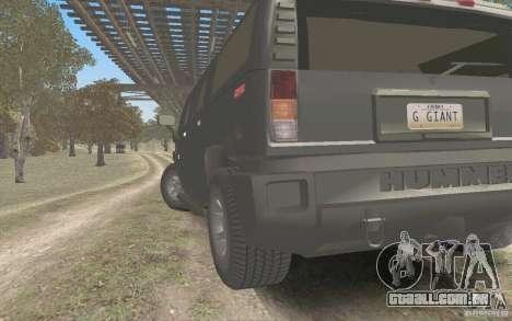 Hummer H2 Stock para GTA San Andreas traseira esquerda vista