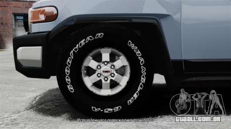 Toyota FJ Cruiser para GTA 4 vista de volta