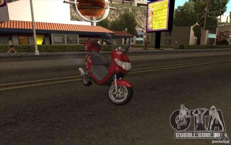 Suzuki Addres para GTA San Andreas traseira esquerda vista