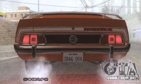 Ford Mustang Mach1 1973 para GTA San Andreas vista inferior