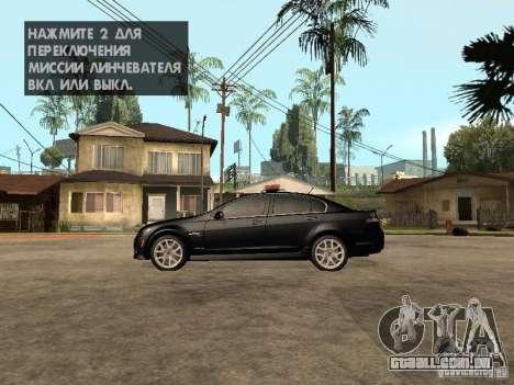 Pontiac G8 GXP Police v2 para GTA San Andreas esquerda vista