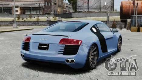 Audi R8 para GTA 4 traseira esquerda vista