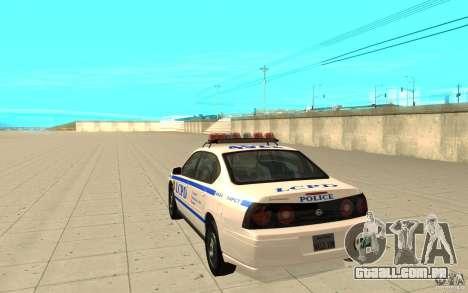 Patrulha da polícia de GTA 4 para GTA San Andreas traseira esquerda vista