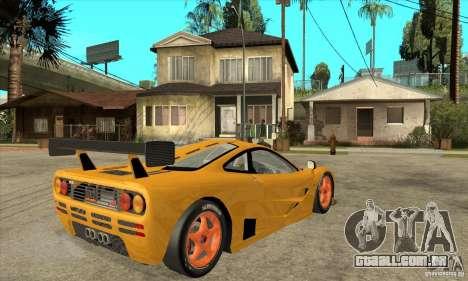 McLAREN F1 GTR GULF 1996 para GTA San Andreas vista direita