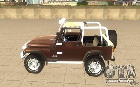 Jeep Wrangler 1986(2) para GTA San Andreas traseira esquerda vista
