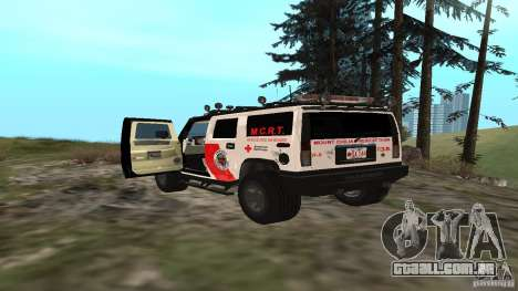 HUMMER H2 Amulance para GTA San Andreas traseira esquerda vista